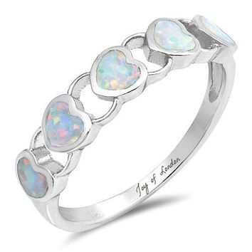 A Perfect Heart Australian White Opal Stackable Wedding Band Promise Ring