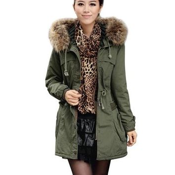 iLoveSIA Womens Military Coat Parka Hooded Warm Thicken Trim Faux Fur