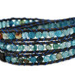 """""""Blue Star"""" Faceted Cut Agate Bead Genuine Leather Bracelet, 3 Wraps, 4mm/bead"""