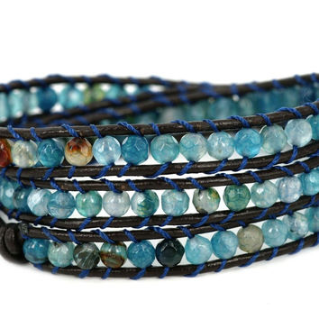 """Blue Star"" Faceted Cut Agate Bead Genuine Leather Bracelet, 3 Wraps, 4mm/bead"
