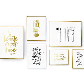 SET of 6 Prints, Beauty Set, Make Up Poster, Bedroom Decor, Brushes Print, Real Gold Foil Print, Home Decor, You Are Like Really Pretty,