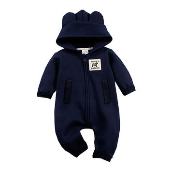 Fashion Newborn Rompers Bebes Baby Boy Romper Branded Newborn baby clothes Cartoon Bear Zipper Long Sleeve Baby Outfits Clothes