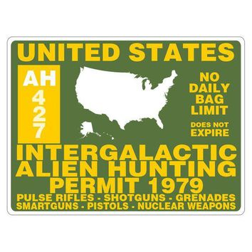 DCCK8UT Alien Hunting Permit Rectangular Decal Sticker