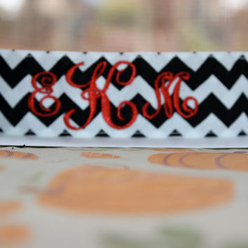 Monogrammed Black/White Chevron Headband- Non Slip and Adjustable!
