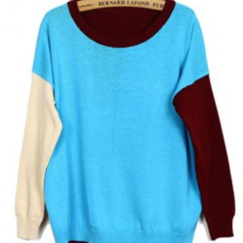 Color Block Sweater with Sleeve Details