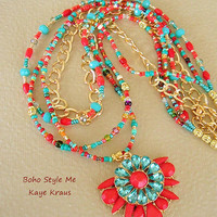 Boho Southwest Junk Gypsy Queen Necklace, Turquoise Coral, Colorful Statement Necklace, Boho Style Me, Kaye Kraus