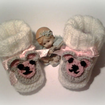 Baby booties baby shoes Baby shoes Girl knitting booties, knitted baby shoes newborn infants Booty Shoes