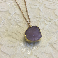 Amethyst Druzy Quartz Necklace