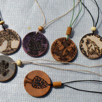 Wood Pendant Deer Necklace with Adjustable Length Hemp Cord and Bead FREE SHIPPING