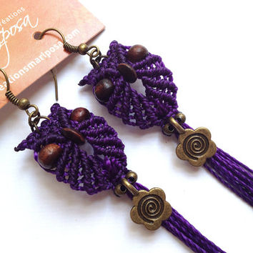 Extra long macrame owl earrings violet spiral flower boho bohemian hippie chic gypsy woodland elf knotted micromacrame