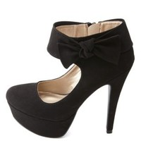 Knotty Bow Ankle Cuff Platform Pumps by Charlotte Russe