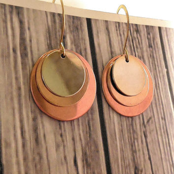 Beautiful Antiqued Copper And Brass Mixed Metal Earrings / Bohemian Metal Earrings/ Copper, Brass Metal Dangle Earrings