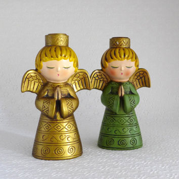Mod Angel Figures, Vintage 1960's, Ardco Candleholders, Paper Mache, Green Gold, Angel Figurines, Taper Candlestick, Christmas Holiday Decor