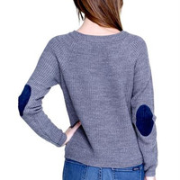 elbow patch ribbed sweater