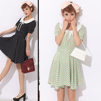 Double m 9835 vintage peter pan collar bow pleated dot one piece dress 280g Free Shipping-in Dresses from Apparel & Accessories on Aliexpress.com