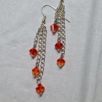 Swarovski Earrings topaz and silver