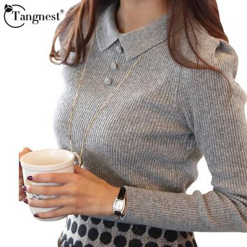 Solid Color Button Pullover Knit Sweater