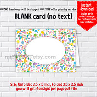 Instant Download, blank Card,  Rainbow Confetti #1016, food tent Card, place card, 3.5x2.5inch printable , non-editable NOT CUSTOMIZABLE