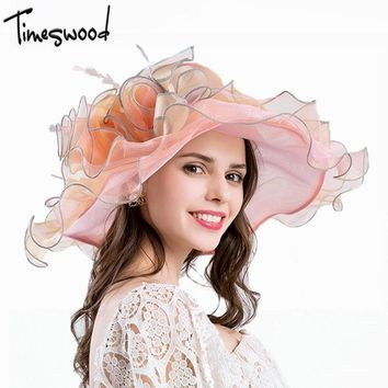 [TIMESWOOD]Lady Summer Organza Hat Net Silk Foldable Beach Sun Hats Women's Transparent Wide Brim Floppy Caps Breathable UV 50