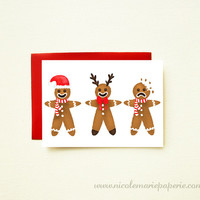 Funny Christmas Card. Gingerbread Men. Illustrated Holiday Cards. Personalized Cards