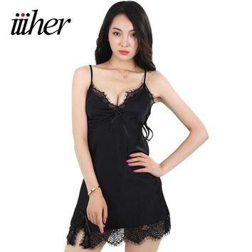 iiiher Sexy Women Nightwear Mini Nightgowns Deep V Lace Night Dress Summer Style 2017 Silk Stain Sleepwear Hot Chemise De Nuit