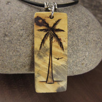 Palm Tree Necklace, Palm Tree Pendant, Tropical Vacation Palm Tree Jewelry, Palm Tree Charm