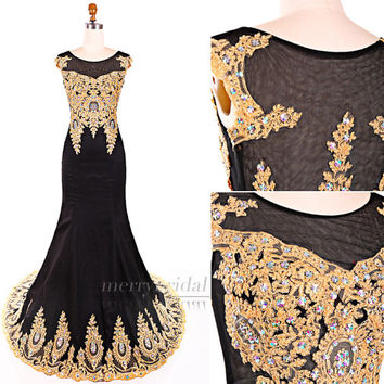 Amazing Black and gold Scoop Stretch Satin Appliques Crystals Court Train long Mermaid prom dresses/Elegant long Formal evening dress EM897