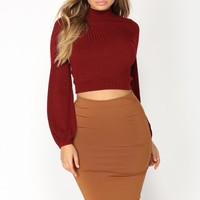 Fabianna Bell Sleeve Top - Burgundy