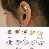 New Fashion star moon heart clip stud earring