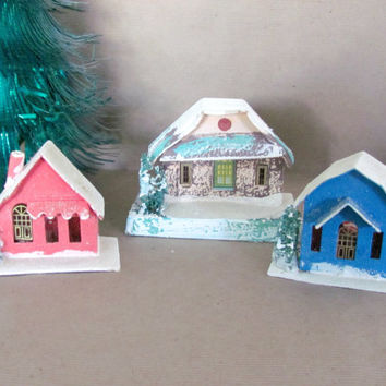 Vintage Christmas Decorations, 1950's Putz Houses, Mica Glitter Vintage Putz House Set, Christmas Decor, 1950's Christmas