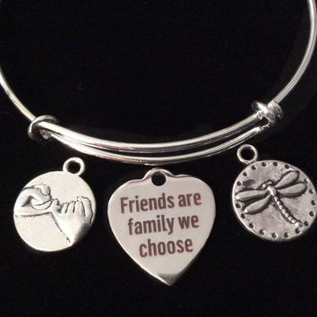 Friends are Family We Choose Silver Expandable Charm Bracelet Dragonfly Adjustable Bangle BFF Gift