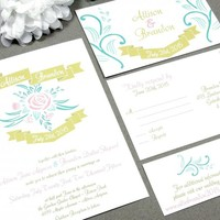 Banner Garden Rose | Rustic Wedding Invitation Suite by RunkPock Designs | Garden Script Calligraphy Modern Invitation Set shown in Blush Pink / Gold / Mint Green