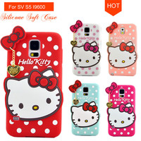 For Galaxy S5 SV I9600 ,3D Cute Cartoon Hello Kitty With Bow Silicone Soft Case Back Cover For Samsung Galaxy S5 SV I9600