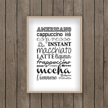 coffee print food print kitchen print PDF digital printable wake up cappuccino frappuccino mocha espresso latte drink