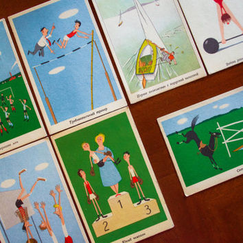 1960's Sport Postcards / Collectible Soviet Hungarian Unused Post Card Lot 7 Adorably Illustrated Humorous Athletic Note Cards NEW OLD STOCK