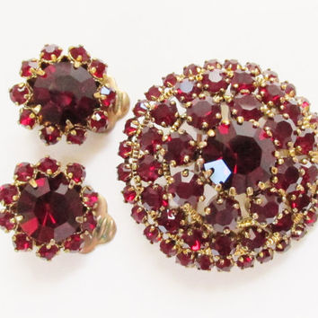 Vintage Austro Hungarian Garnet Red Rhinestone Brooch Earrings Czech