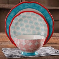 The Pioneer Woman Happiness Rim Scalloped 12-Piece Dinnerware Set, Red - Walmart.com