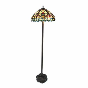 "Hayden, Tiffany-Style 2 Light Crystal Design Floor Lamp 18"" Shade"