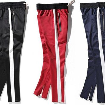 2017 New side zipper pants hip hop Fear Of God Fashion urban clothing red bottoms justin bieber FOG jogger pants Black red blue