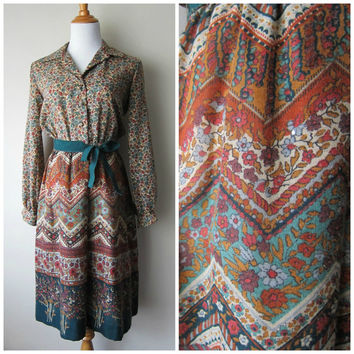 70s Boho Autumn Floral Ethnic Print Dress // Green Brown Rust Earth Tones // Bohemian Chic Thanksgiving Fashion