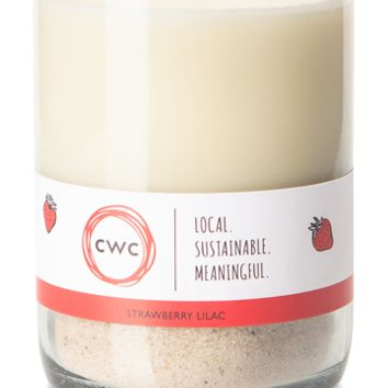 Strawberrries & Lilac, handcut soy wax candle in upcycled glass