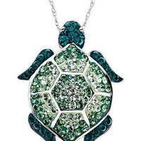 Kaleidoscope Sterling Silver Necklace, Green Swarovski Crystal Turtle Pendant (1-1/6 ct. t.w.) - SALE & CLEARANCE - Jewelry & Watches - Macy's