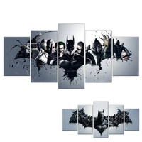 Unframed 5 Pieces Wall Art Oil Canvas Painting Printed Cartoon Batman Joker Wall Pictures for Living Room Kids Room Home Decor