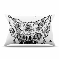 "Anya Volk ""It's Bat"" Black White Pillow Case"