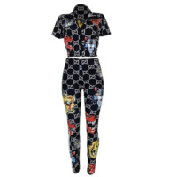 GUCCI Sumemr Popular Women Casual Animal Print Short Sleeve Top Pants Two-Piece Set