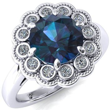 Zinnia Round Alexandrite 6 Prong Milgrain Diamond Halo Cathedral Engagement Ring