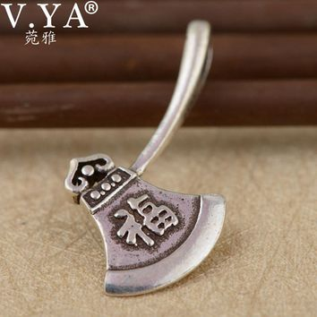 V.YA Unique Axes Shape Pendant Real Pure 925 Sterling Silver Chinese Vintage Style ax Pendant for Men Women Kids