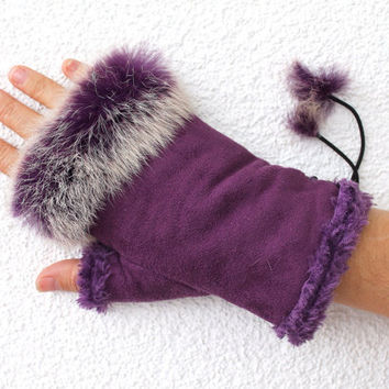 Suede Gloves with Fur, Fingerless Mittens,