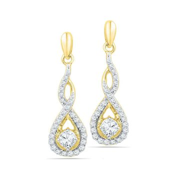 10kt Yellow Gold Womens Round Diamond Solitaire Teardrop Frame Dangle Earrings 1/2 Cttw