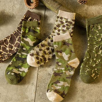 NEW 5 Pairs Mens Camouflage Socks Lot Warm Fashion Camo Casual Cotton Socks 9-12